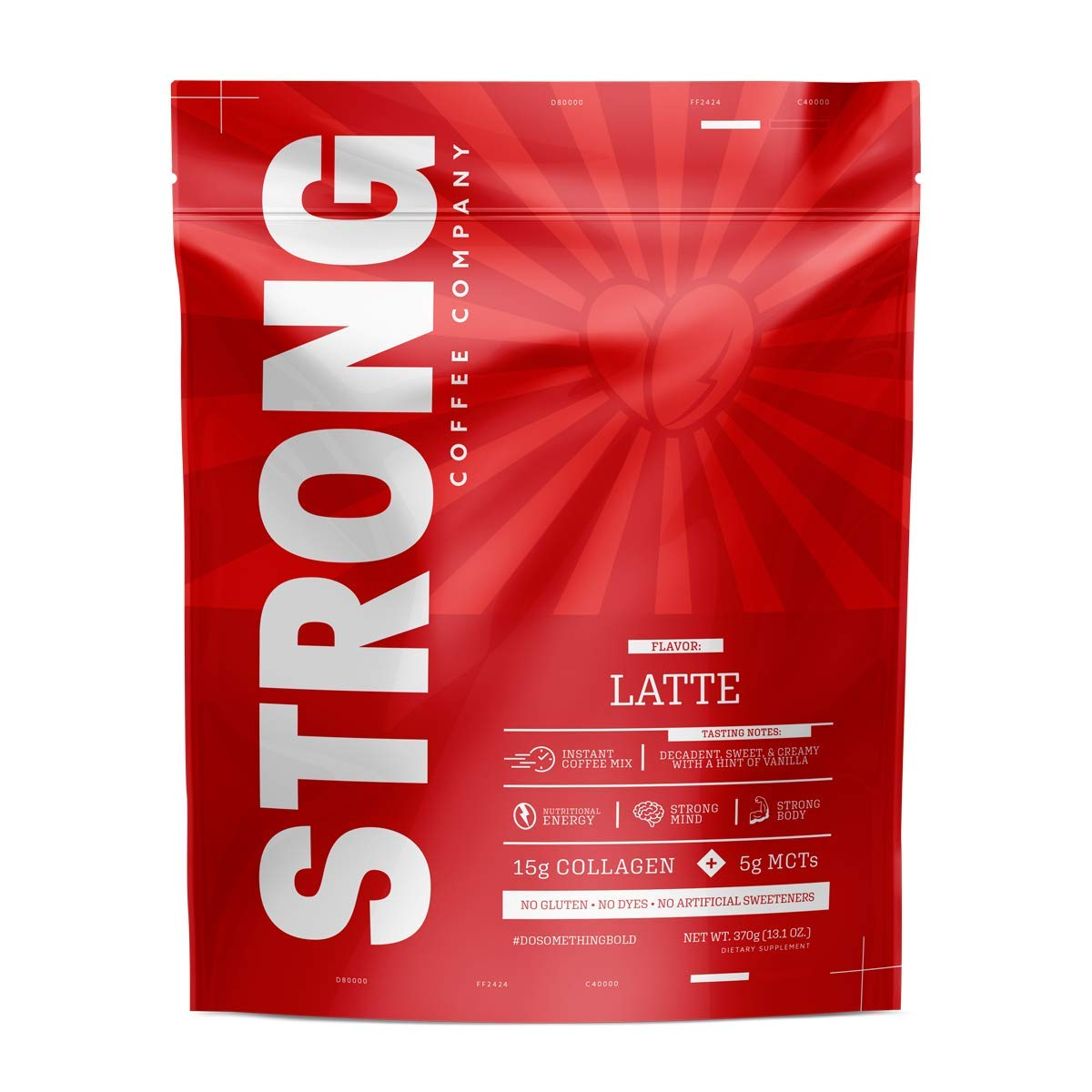 STRONG COFFEE COMPANY | PREMIUM INSTANT COFFEE from the Whole Coffee Bean. Loaded with Antioxidants, Collagen, MCT, L-Theanine, L-Tryptophan, Hyaluronic Acid: No Crash (Caffè Latte, 12 Servings)