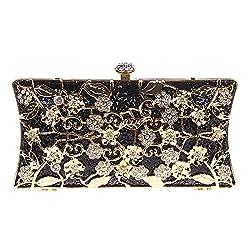 Fawziya Floral Clutch Bags For Girls Handbags Wholesale Purses-Black