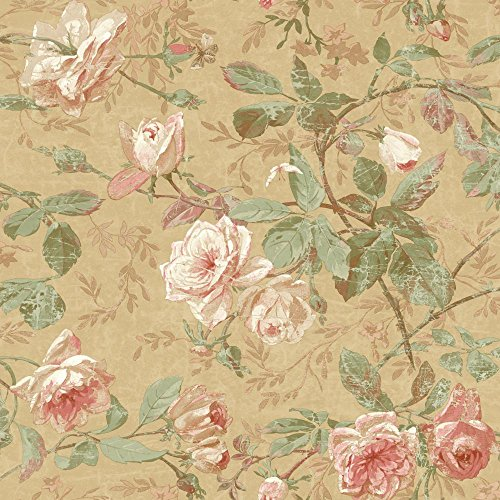 York Wallcoverings SH5505 Vintage Luxe Floral Wallpaper, Gold, Peach, Coral, White, Tan, Green