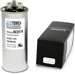 TEMCo 45+5 uf/MFD 370-440 VAC Volts Round Dual Run Capacitor 50/60 Hz AC Electric - Lot -1