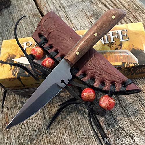 (Tactical Hunting Knife - Survival Knife - Stainless Steel - Full Tang Western Style Fixed Blade Patch Leather Sheath)