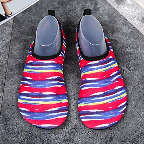 Shoes Rojo Impresión Water Deporte Mujeres Hombres HLHN Yoga Buceo rápido Calcetines Zapatos Unisex Barefoot Natación Snorkel Playa Secado Surf Camuflaje nXPXxtHqF