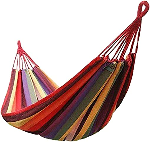 Single Person Adventure Hammock for Camping Cotton Weave for Supreme Comfort Extra Wide Bed Portable for Backpacking