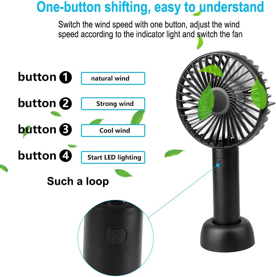 Built-in 1200 mAh Battery Travel Camping 3 Adjustable Speeds for Workplace Black Portable Electric Fan with USB Rechargeable or Battery Vegena Portable Mini Fan