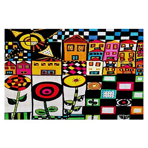 - DiaNoche Woven Area Rugs, Kitchen Mats, Bath Mats by Dora Ficher Doodle Day Large 4x6 Ft