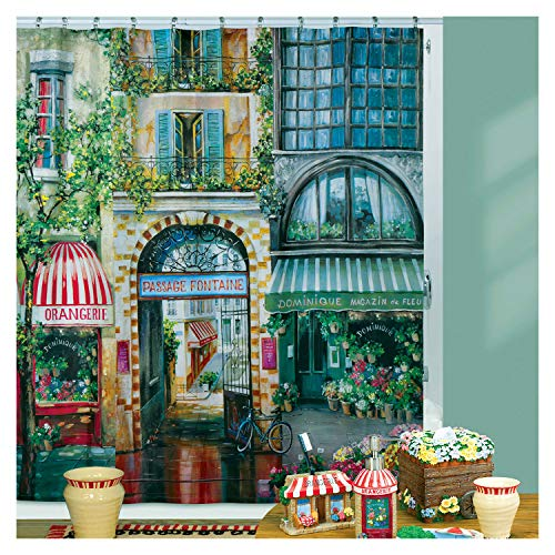 DS BATH Rue Di Rivoli Magnificent Paintings Shower Curtain,Polyester Shower Curtain,Printing Shower Curtains for Bathroom,Fabric Bathroom Curtains,72