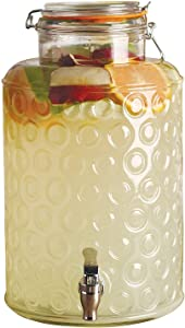 Circleware Glass Beverage Dispenser with Locking Lid Entertainment Glassware Pitcher for Water, Juice, Beer Wine Liquor, Kombucha & Cold Drinks, Huge 2.5 Gallon, Circle Style