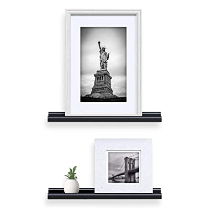 Awesome Wallniture Wall Mounted Floating Shelves 22 Inch Contemporary Design Picture Ledges Display Black Set Of 2 Download Free Architecture Designs Ferenbritishbridgeorg