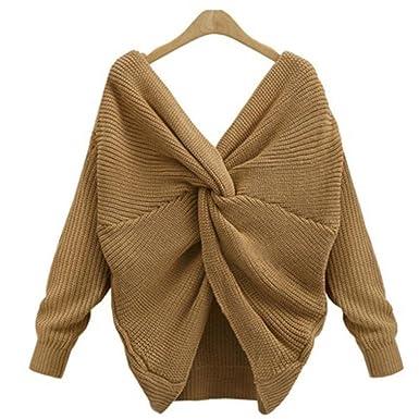 Ronamick Damen Herbst Winter Casual V Ausschnitt Pullover