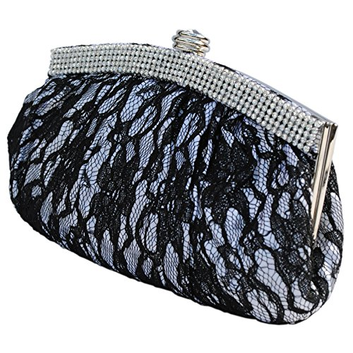 Bag White Lace Trim Prom Design Crystal Handbag Bridal Wedding Satin Party Evening Clutch Foral Black Bags Diamante Purse qHwxEITxg