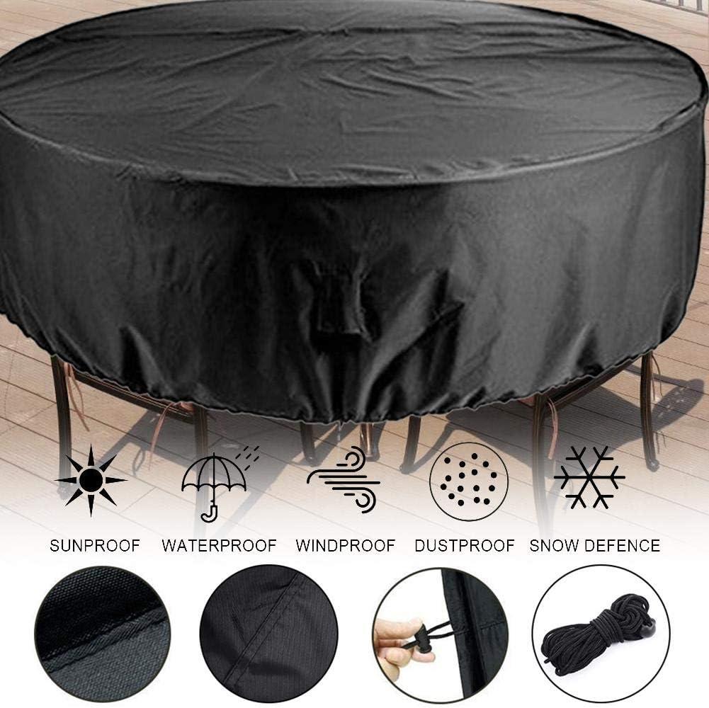 Nero Like-Minded Pangyan990 Copertura Tavolo Giardino Impermeabile Telo Protettivo per Tavolo,Copertura per Tavolo da Pranzo Rotondo Telo Protettivo Rotondo per Tavolo e sedie da Esterni