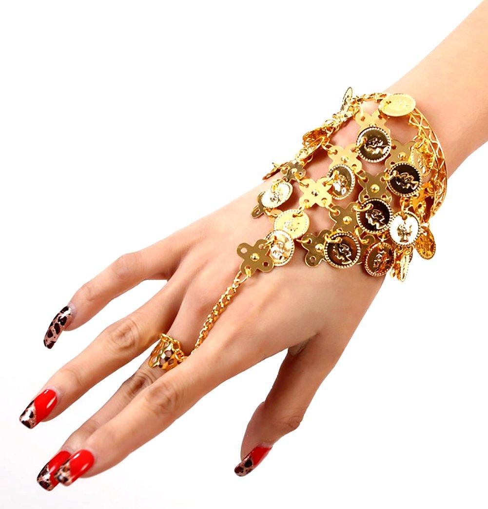 Kentop Bracelet Bijoux Femme Fille Style de Bracelet de Danse Indienne Bracelet Pendentif Danse du Ventre Bracelet R/églable Cadeau