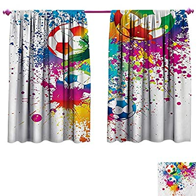 Soccer Customized Curtains Colored Splashes All Over Soccer Balls Score World Cup Championship Athletic Artful Window Curtain Fabric Multicolor