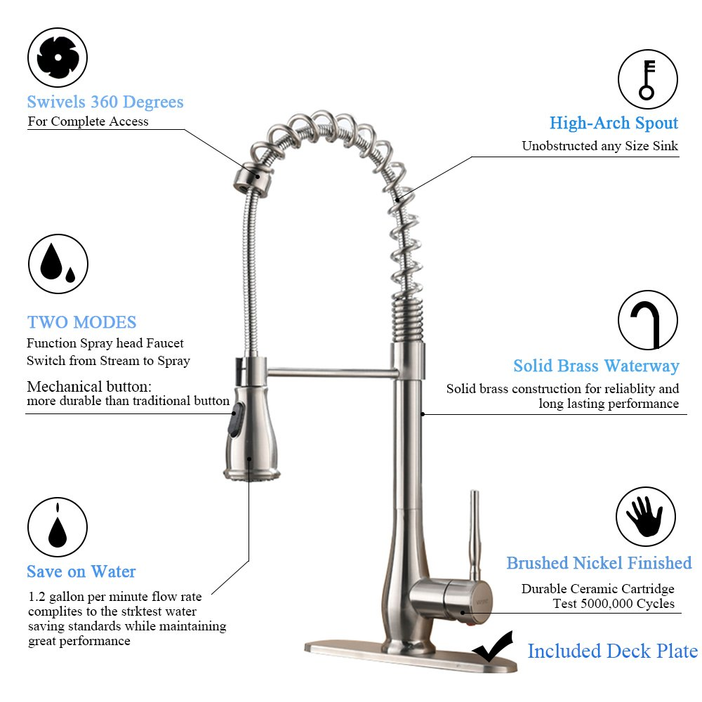 VAPSINT Beauty High-end Luxury Super High Arch Brushed Nickel Kitchen Faucet, Kitchen Sink Faucets Included Deck Plate by VAPSINT (Image #7)