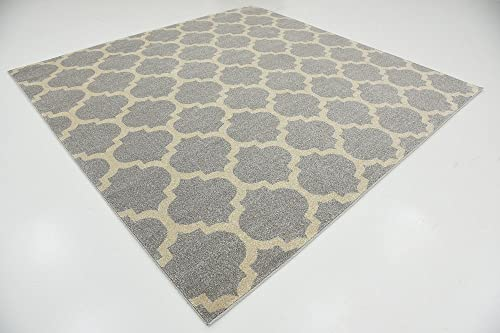 Unique Loom Trellis Collection Moroccan Lattice Light Gray Square Rug 8 0 x 8 0