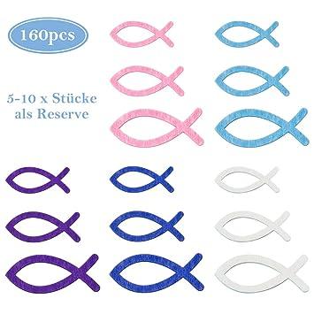 Binken 160 Stück Holz Fisch Deko Taufe Deko Taufe Junge Mädchen Tischdeko Taufe Kommunion Konfirmation Rosa Lila Weiß Blau Gemischte Größe