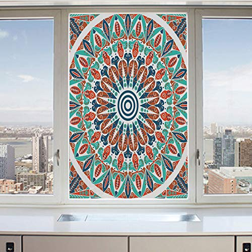 (3D Decorative Privacy Window Films,Floral Geometry Complex Design Medallion Middle Ages Symbolic Tribal Artwork,No-Glue Self Static Cling Glass film for Home Bedroom Bathroom Kitchen Office 17.5x36 In)