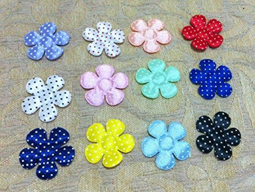 100 Pcs - Satin Flower Padded Applique craft polkadot Embellishments - Mix Color - Size 45 MM