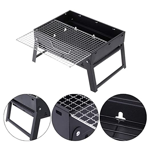 Bhavya Enterprise Mini Charcoal Barbecue Stove Metal Smokeless Fold able Grill with 1 Tong +1 Oil Brush