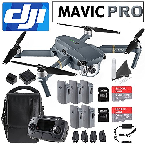 DJI Mavic Pro Collapsible Quadcopter Premium Combo: Includes DJI Shoulder Bag, 5 Intelligent Flight Batteries, Car Charger, Charging Hub, Spare Propellers, 2x SanDisk 64GB MicroSD Cards and more…