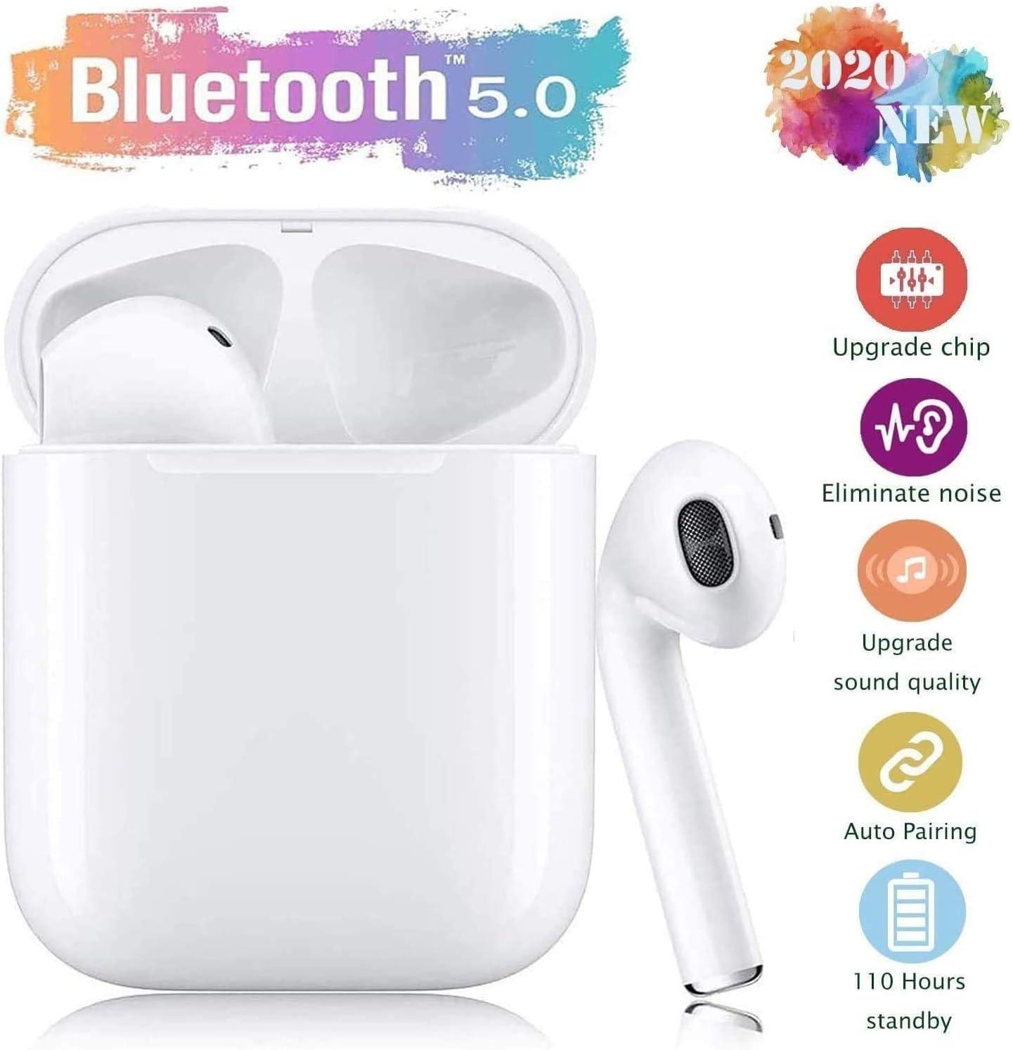 Auriculares Bluetooth, Auriculares inalámbricos 3D estéreo HD Bluetooth Deporte con Micrófono Reducción de Ruido CVC 8.0 Cascos Caja de Carga, IPX5 Resistentes al Agua Carga Rapida - Blanco