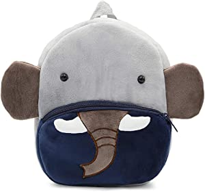 New Toddler's Backpack,Toddler's Mini School Bags Cartoon Cute Animal Plush Backpack for Kids Age 1-4 Years (Elephant)