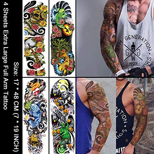 Oottati 4 Sheets Full Arm Leg Extra Large Temporary Tattoos, Body Art for Men and Women A