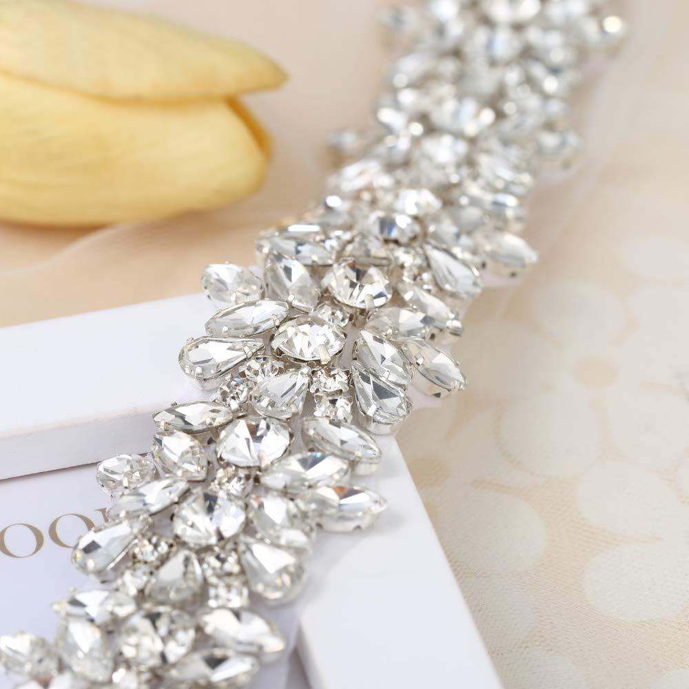 FANGZHIDI Luxury Bling Crystal Rhinestone Applique Trims 1 Yard for Bridal Belt- Silver-1 Yard(1.26'' 36'' in) by FANGZHIDI