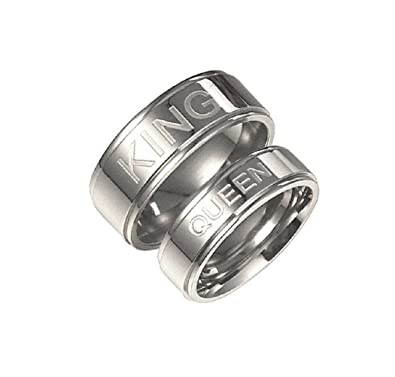 Amazon Com Blowin Silver Stainless Steel King And Queen Wedding