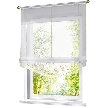 ESLIR Raffrollo mit Schlaufen Raffgardinen Gardinen Küche Transparent  Schlaufenrollo Vorhänge Bestickt Modern Voile Gelb BxH 60x140cm 1 Stück
