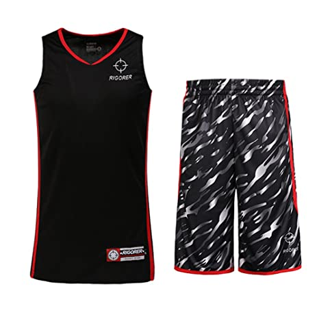 0a8eaf066 RIGORER Men's Camouflage Mesh Basketball Uniform Jersey Shorts with Pockets  Black 3XL