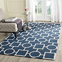 Safavieh Cambridge Collection CAM143G Handcrafted Moroccan Geometric Navy Blue and Ivory Premium Wool Area Rug (6 x 9)