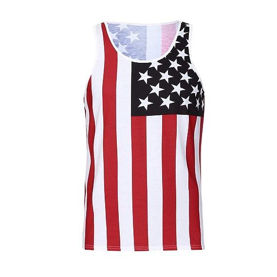 Kinlene Personalidad de los Hombres de la Bandera Americana Informal Manga delgadaLess T Shirt Tank Top Blusa: Amazon.es: Ropa y accesorios