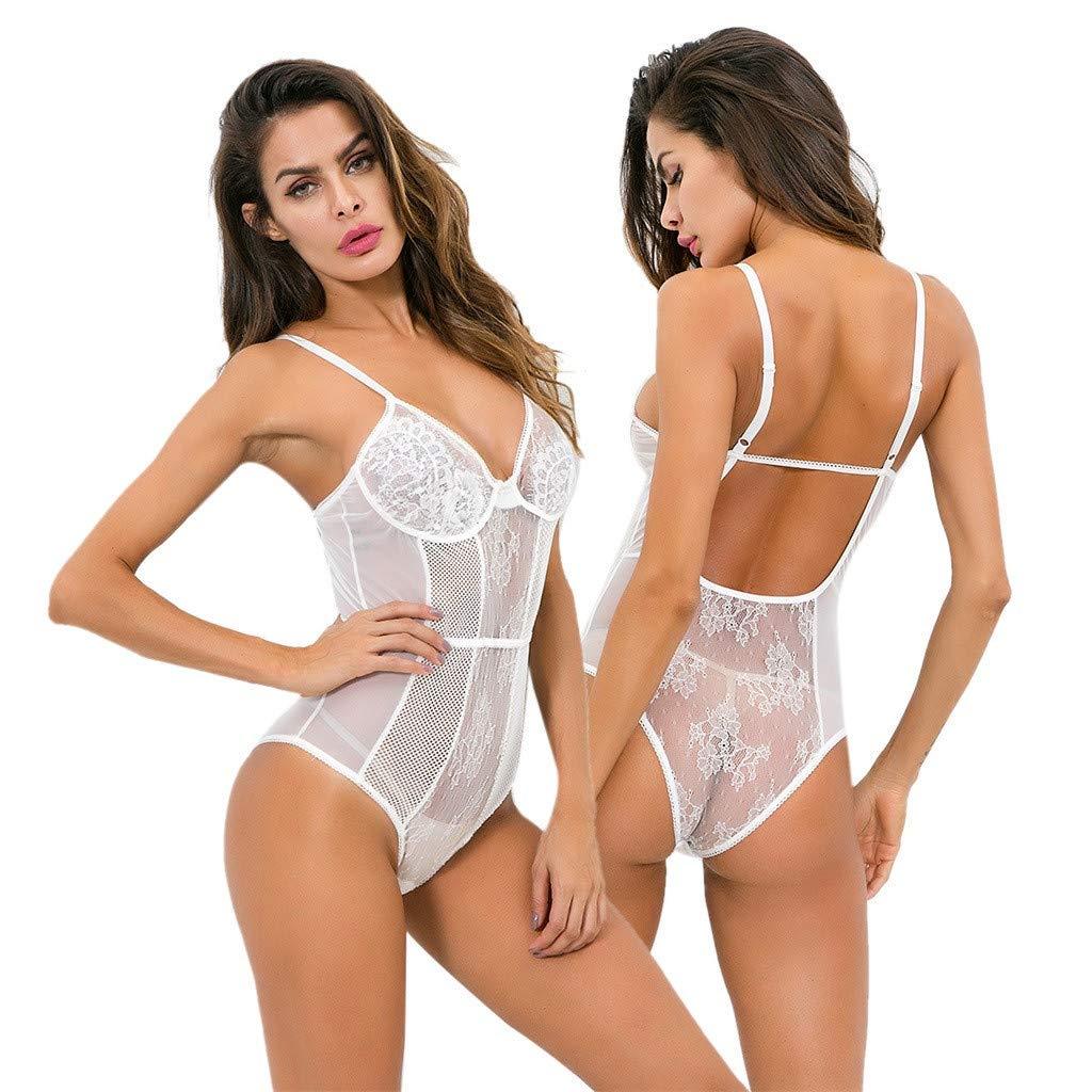 Zaidern Women Sexy Lingerie Sleepwear Lace Dress Underwear Perspective Backless Jumpsuit White