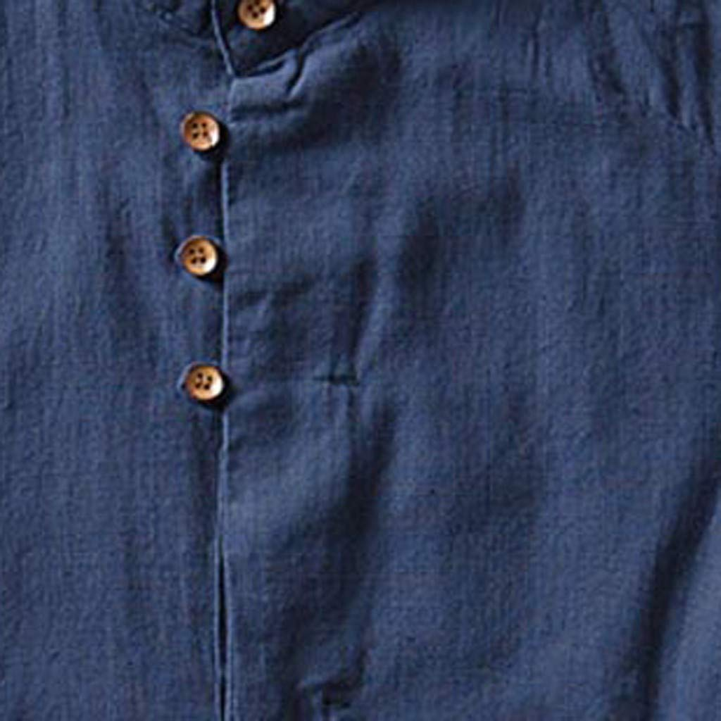 Mens Causal Shirt Short Sleeve Top Button Down Cotton Linen Solid Pure Color Loose Blouse by Cianjue