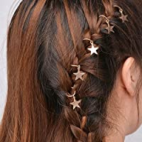 5Pcs Womens Fashion Shiny Star Hair Rings Hair Clips for Braids Plaits Eyeful Gold