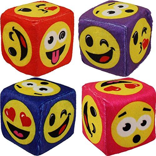 Nanco Plush - Emoticon Dice - SMILEY EMOJI ASSORTMENT (Set of 4 Colors) (3 ()