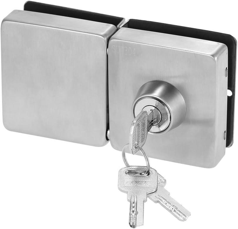 OWSOO Cerradura para Puerta de Cristal 10-12mm con 3 Llaves, Cuadrado