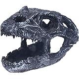 POPETPOP Reptile Hide Cave Resin Dragon Skull Terrarium Decor Aquarium Ornament - Reptile Hideout Cave Betta Fish Hide…