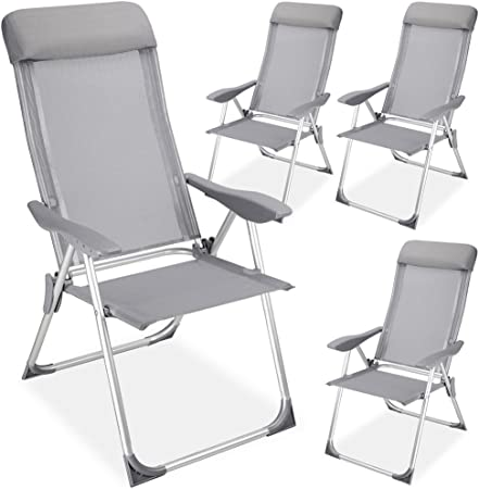 Lot de 2 Quad Chaise Camping Pliante Acier cadres un accoudoir Gris Extérieur Siège