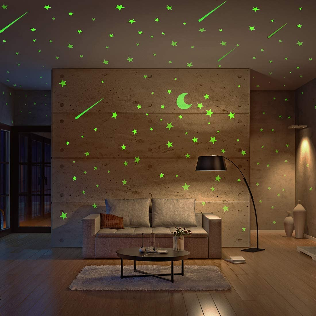 Amazon Com Realistic Glow In The Dark Stars And Moon 500pcs Glow Stars And Shooting Star Adhesive Glow Stars For Kids Bedroom Luminous Stars Stickers Create A Realistic Starry Sky Room Decor Wall Stickers Kitchen