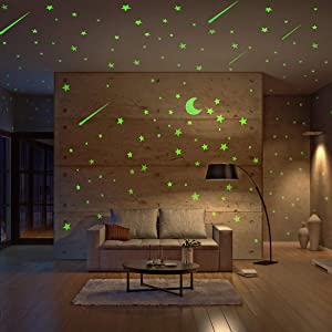 Realistic Glow in The Dark Stars and Moon, 500pcs Glow Stars and Shooting Star, Adhesive Glow Stars for Kids Bedroom,Luminous Stars Stickers Create a Realistic Starry Sky,Room Decor,Wall Stickers