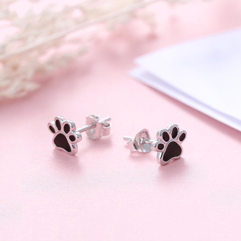 Amazon.com: S925 Sterling Silver Puppy Dog Cat Pet Paw Print Stud ...