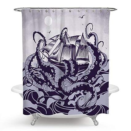 Chengsan Ocean Shower CurtainOcean Octopus With Sail Boat Curtain Personalized Big Bathroom
