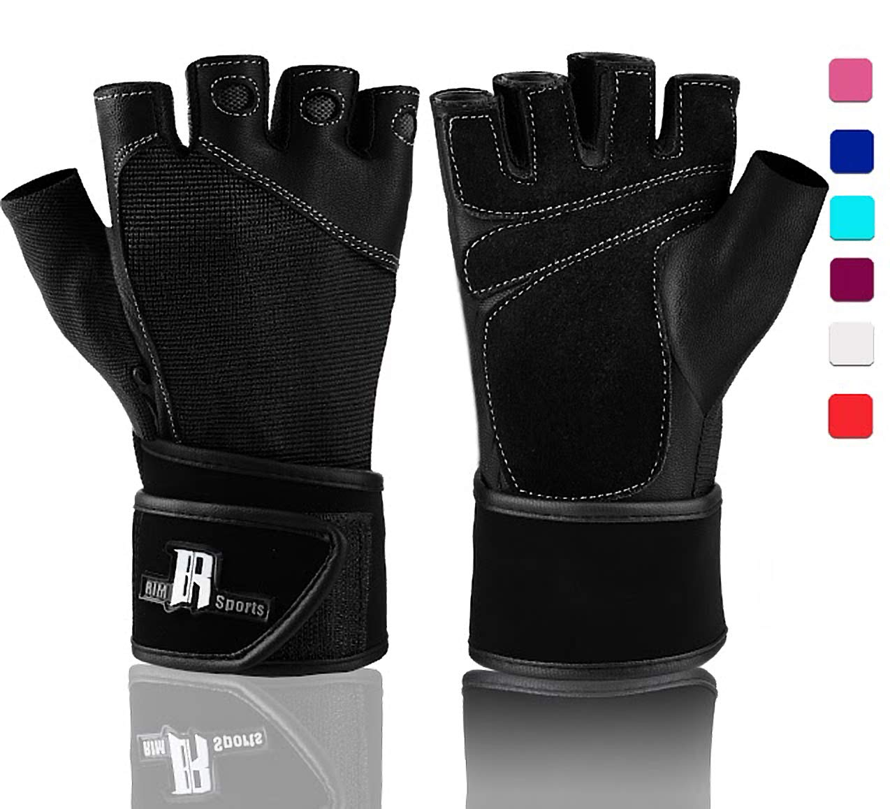 RIMSports Weightlifting Gloves with Wrist Support - Workout Gloves with Wrist Padding for Lifting Weights, Cross Training, Power Lifting, Gym Equipment - Gym Gloves (Black XS)