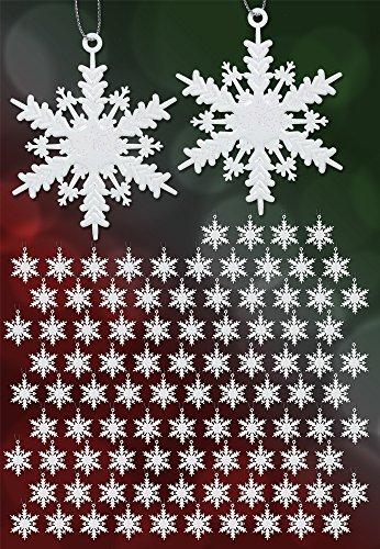 Glitter Snowflake Christmas Ornaments (White Snowflake Ornaments - Set of 96 Mini White Glitter Snowflake Ornaments - Iridescent White Glitter Hanging Snowflakes - Mini Christmas)