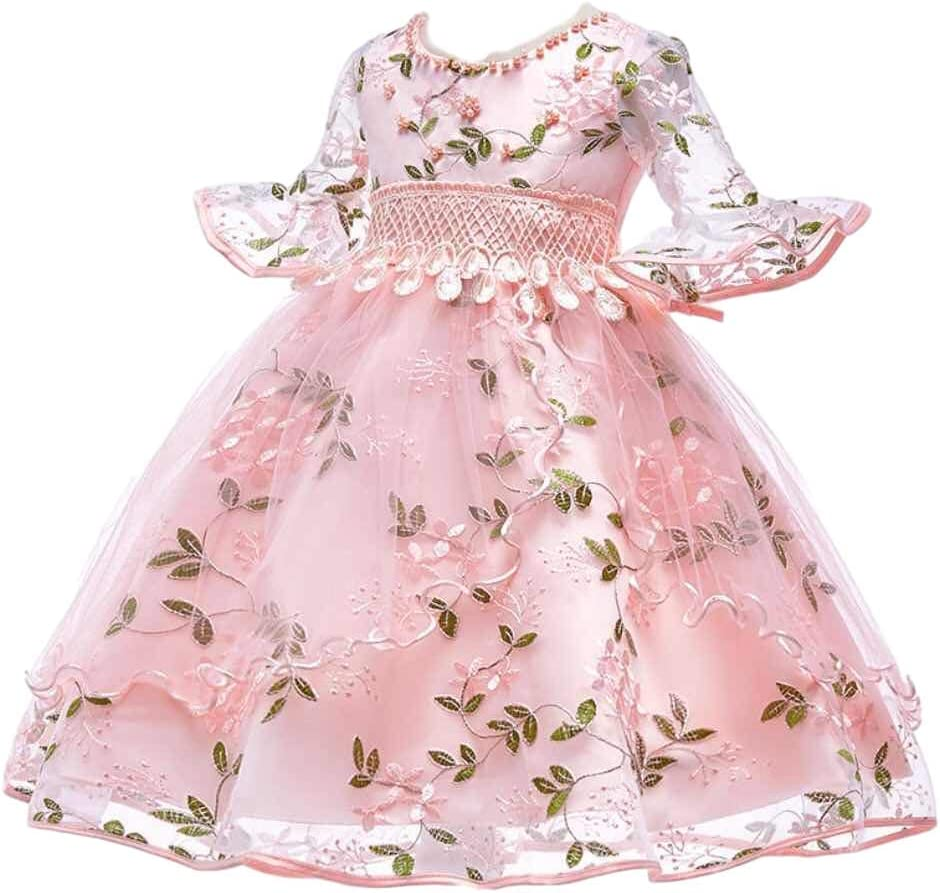 Best Gift Pearl embroidery Kids Girls Flower Dress Baby Girl Birthday Party  Dresses Children Fancy Princess Ball Gown Wedding for girls 6-6 years