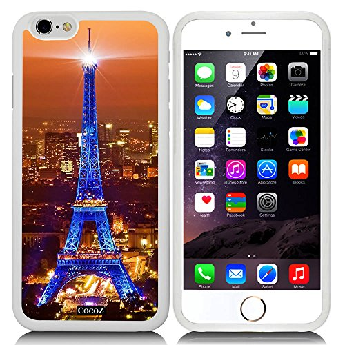 New Apple iPhone 6 s 4.7-inch CocoZ® Case Classic Paris Eiffel Tower Beautiful Night view TUP Material Case (White TPU& Eiffel Tower 1) (E Fun Netbook)