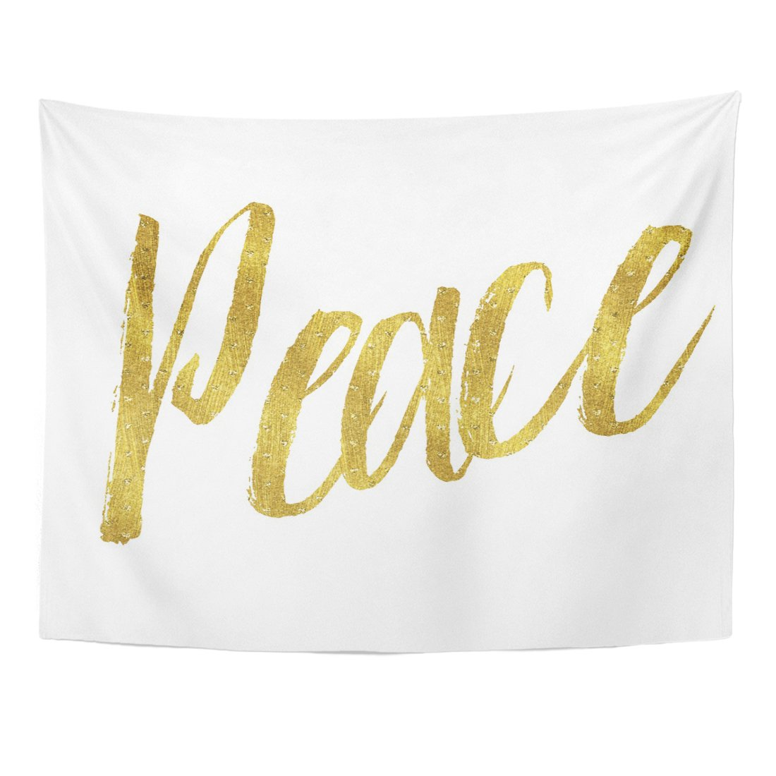 VaryHome Tapestry Glittery Peace Gold Faux Metallic Inspirational Christmas Christian Quote White Motivational Home Decor Wall Hanging for Living Room Bedroom Dorm 60x80 Inches