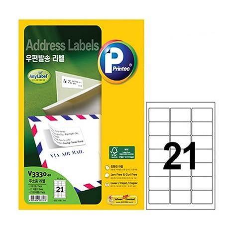Amazon com : [Printec](V3330-21-100) Address Labels, 21